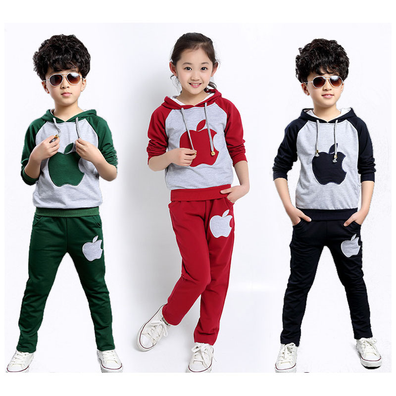 Tracksuit Boy new Korean Boys Sport Suit Autumn Winter Velvet Children Clothing Set Big Boy Girl Sportswear Suit Kids clothes