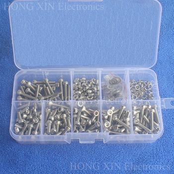 300pcs/set M3 Cap Head 304 Stainless Steel Hex Socket Screws Bolt With Hex Nuts Assortment Kit Repair Tool box Fastener screw 340pcs assorted stainless steel m3 screw 5 6 8 10 12 14 16 18 20mm with hex nuts bolt cap socket set