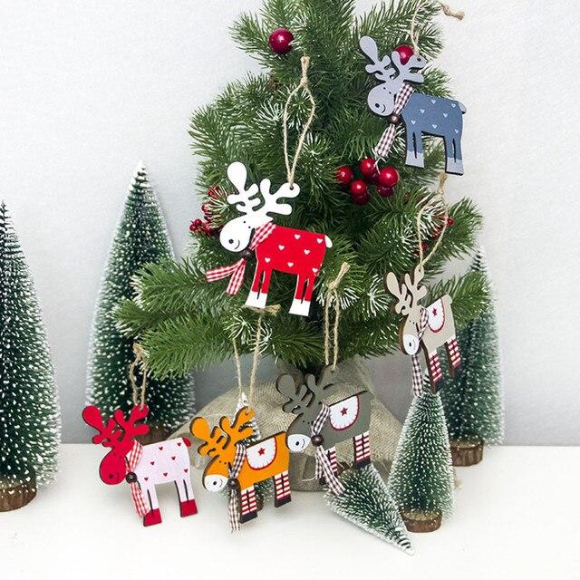 Painted Wood Elk Pendant Christmas Tree Decoration Xmas Decor Deer Ornaments Christmas Decorations For Home C201030