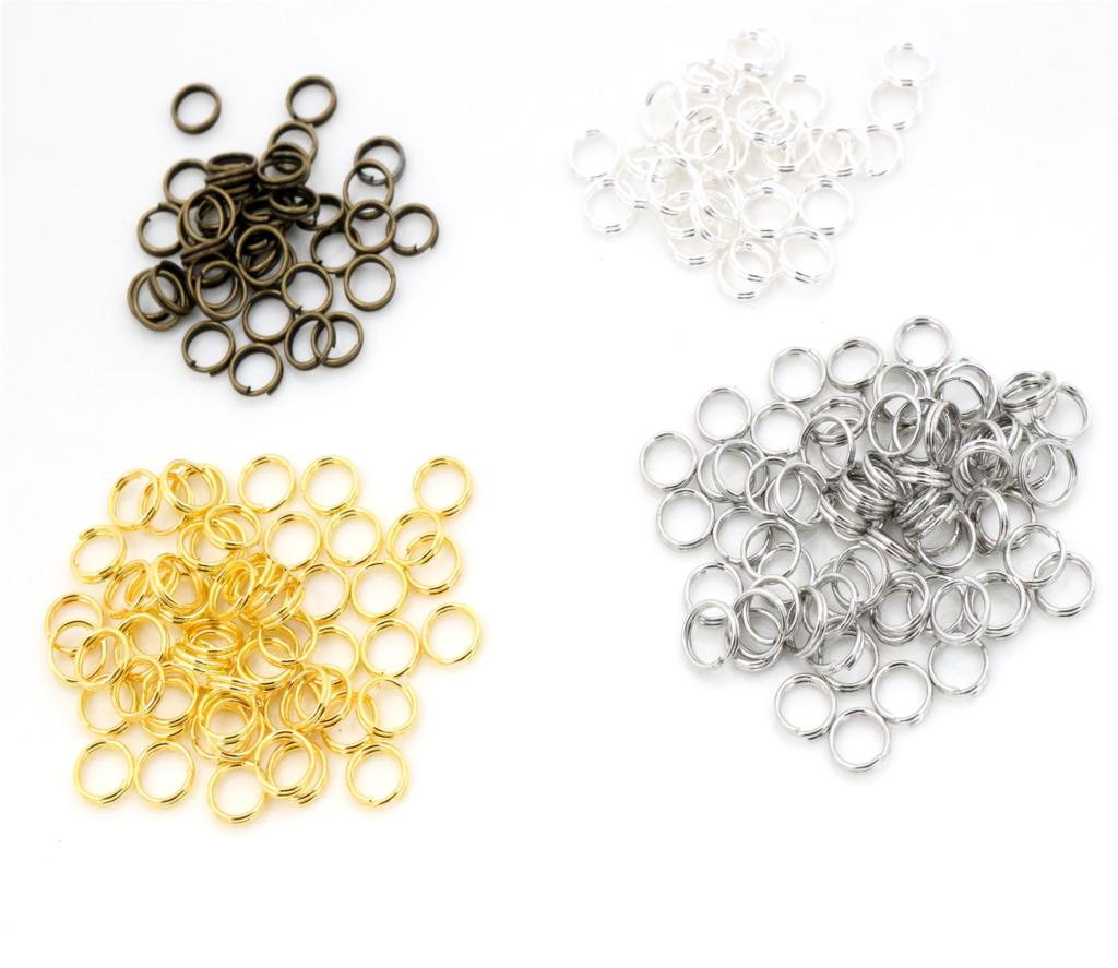 200pcs/lot 4 6 7 8 10 Mm Open Jump Rings Double Loops Gold Silver Color Split Rings Connectors For Jewelry Making Supplies DiY