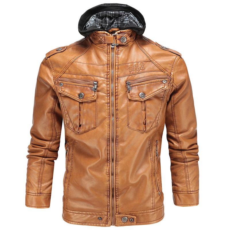 Winter Leather Jacket Hooded 2018 Mens Casual Fashion Jackets Brown Zipper Faux Fur Jackets Men High Quality Leather Coats