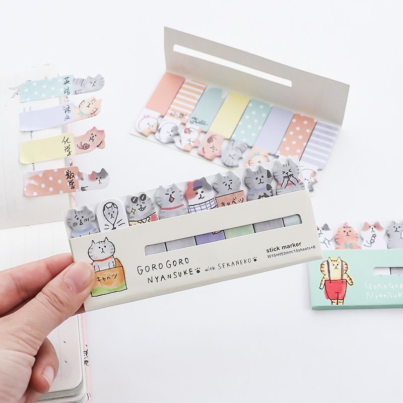 4 Pcs Cute Cat Sticky Note Set Mini Index Sticker For Diary Planner Agenda Memo Bookmarks Office Tools School Supplies F881