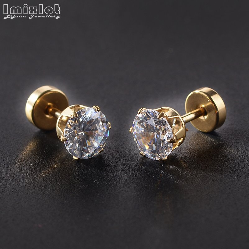 Women/Mens Stainless Steel Stud Earrings,3-7mm, Black,Golden,Silvery,Multicolour, Clear Crystal,Round,#0094