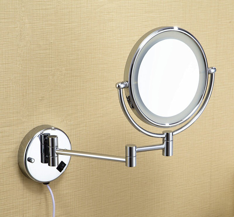 Led Bathroom Mirror 360 Retractable Wall Cosmetic Makeup Bath Double Faced Accessories