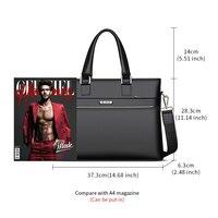Laorentou Men Crossbody Bags Briefcase Cow Leather Totes Shoulder Bag Work Handbag Bags Brand High Capacity Business Bag 2