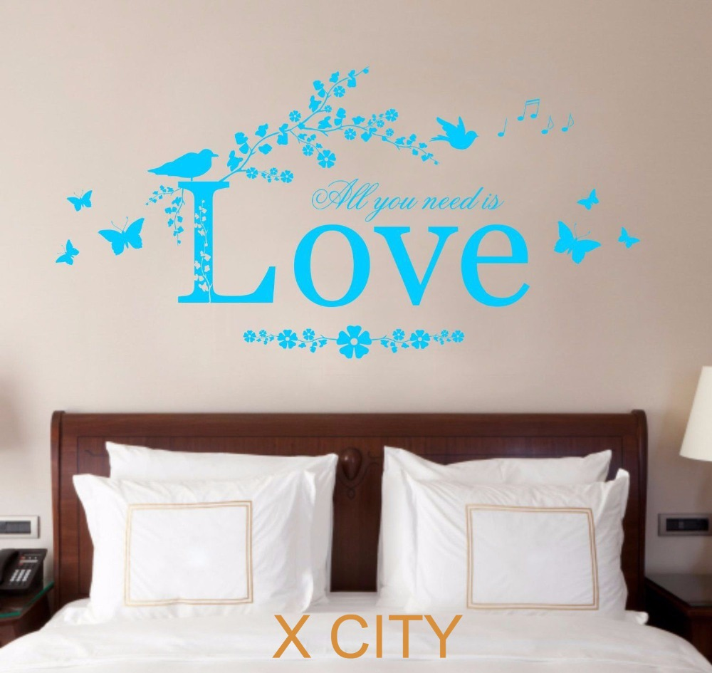 All You Need Is Love Quote Vinyl Wall Decal Art Decor Sticker Bedroom Stencil Mural S M L XL