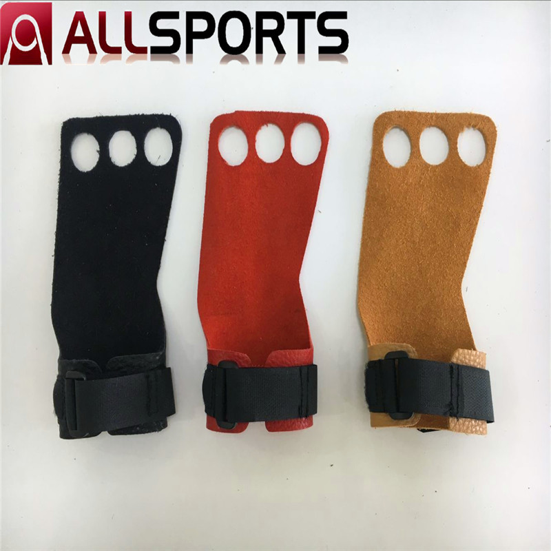 3 Hole Leather Hand Grips With Wrist Support For Xrossfit, Wrist Support, Calluses Protect, For Men and Women adjustable wrist and forearm splint external fixed support wrist brace fixing orthosisfit for men and women