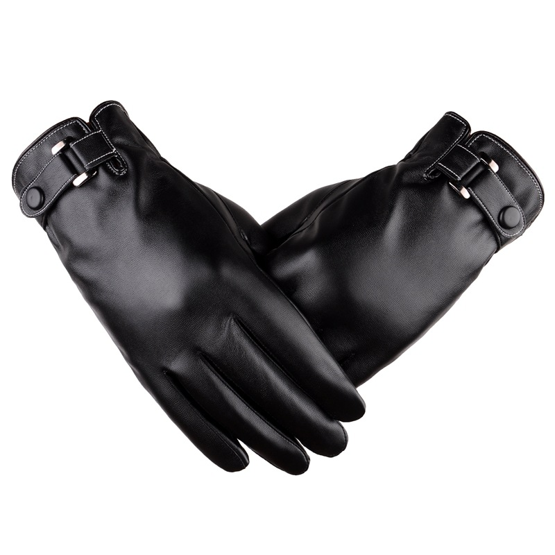 Fashion Winter Warm Synthetic Leather Button Wrist Gloves Men Touch Screen PU Gloves