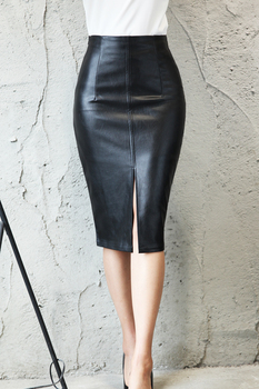 80s Flavor PU Leather Midi Skirt