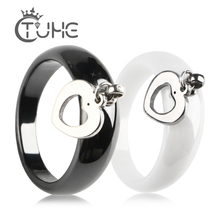 Новое поступление, Женское кольцо Anel с милым сердцем, для женщин, обручальное, стальное, керамическое, обручальное, ювелирное изделие, размеры 6, 7, 8, 9