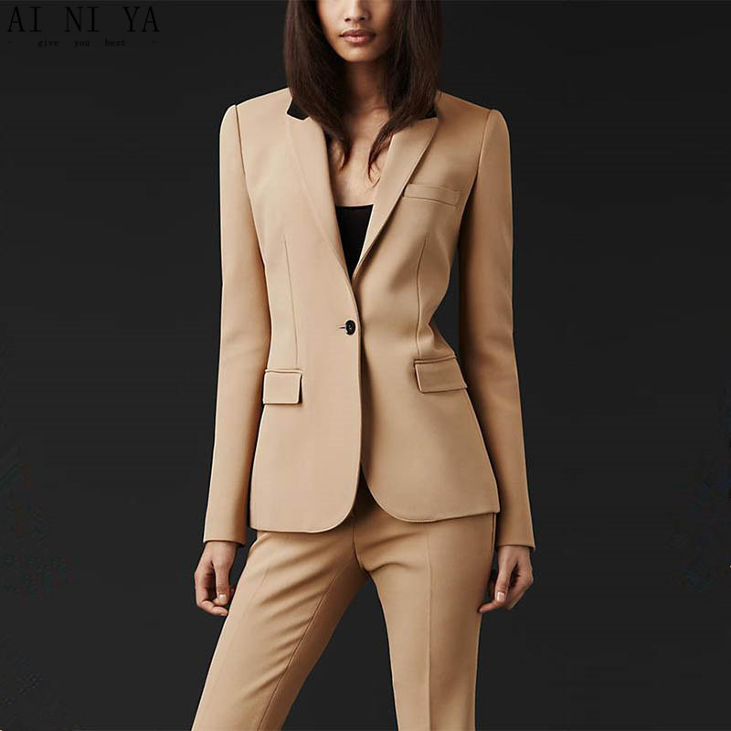 Women Pant Suits New Custom Made Formal Women Suit Office Ladies Business Suit Beige Professional Work Wear Clothes