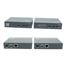 4K HDBaseT HDMI KVM POE Extender 100m Over UTP RJ45 Cat6 Cable Support 3D, USB 2.0, HDMI 1.4 / HDCP 1.2, Bidiretional IR & RS232