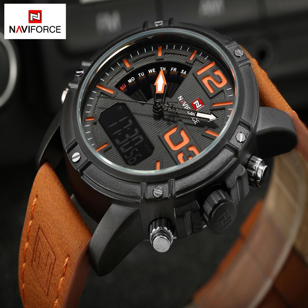 NAVIFORCE Men Watches Luxury Fashion Sports Watches Men Quartz Digital Leather Military Waterproof Wrist Watch Relogio Masculino 2017 new luxury brand naviforce watches men leather quartz digital watch man fashion military casual sports wrist watch relogio