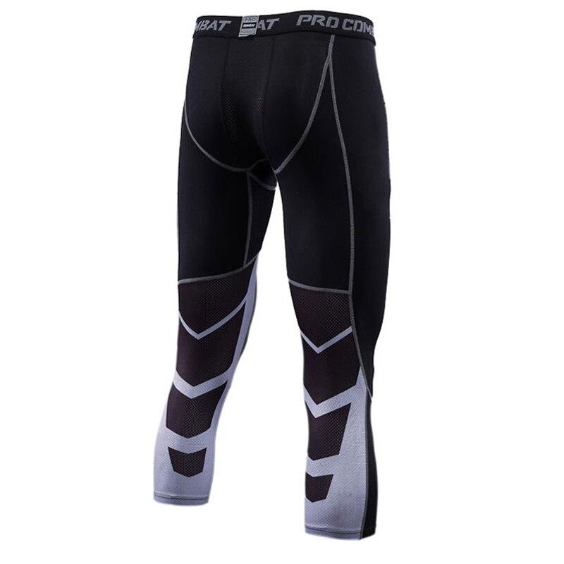 Men's Bodyboulding Pants 3/4 Men Leggings Compression Tights Jogging Tights Elastic Pants Gym Trousers Exercise Pants Men Dryfit