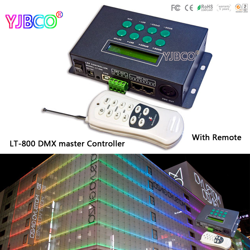 LT-800;LTECH LED RGB/DMX Controller with remote;39 changes modes,receive DMX512 signal,with time and date dmx512 digital display 24ch dmx address controller dc5v 24v each ch max 3a 8 groups rgb controller