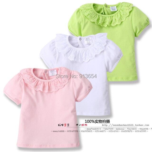 Лето девочки футболки младенцы и дети одежда девочки-младенцы короткая рукава рубашки топы дети полые кружево воротник пуловер