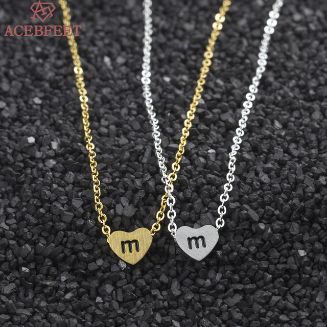 ACEBFEET 10Pcs Lot M N O P Q R Letter Charm Necklacl Tiny Heart Gold Silver Color Pendant Necklace