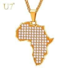 U7 Золотой /Розовое Золото/Серебряный Цвет Кристалл Карта Африки