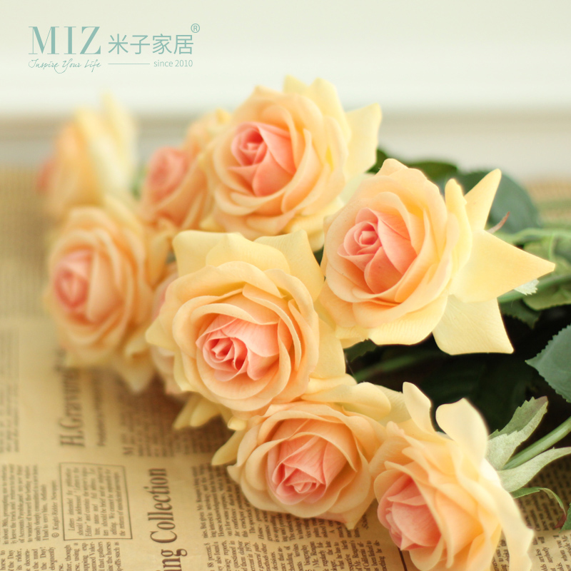 Miz Home 5 Pieces High Quality Artificial Rose for Home Party Real Touch Rose Slik Rose Bud
