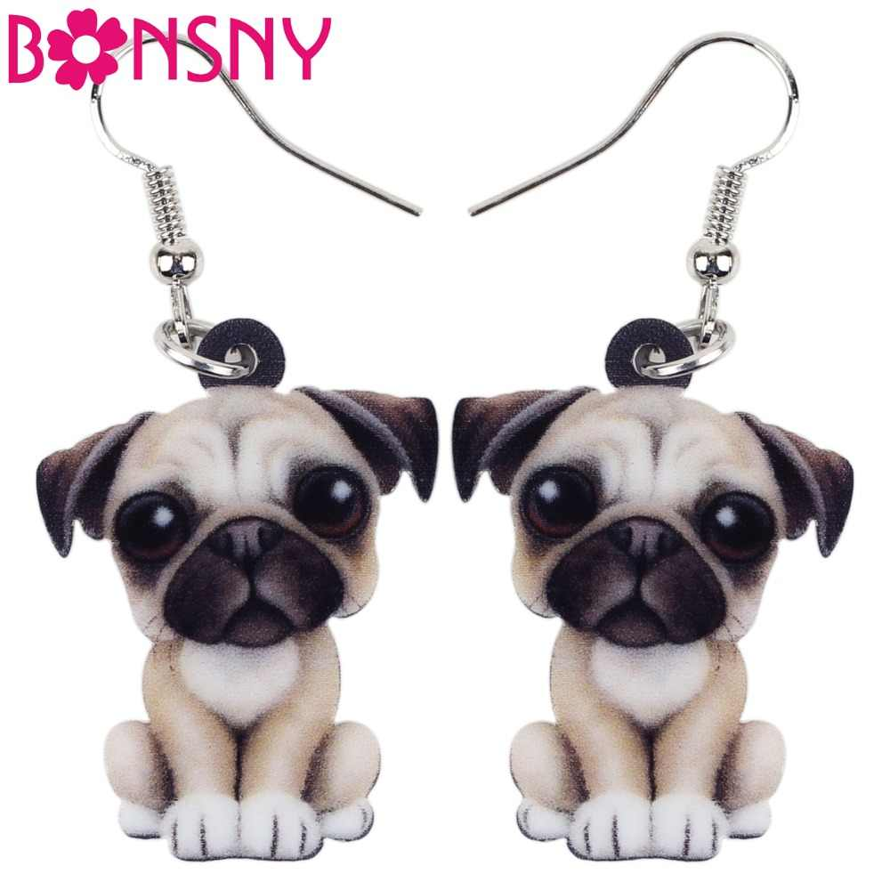 Bonsny Drop Acrylic Cartoon French Bull Pug Dog Big Long Dangle Earrings Fashion Animal Jewelry For Girls Women Lady Accessories