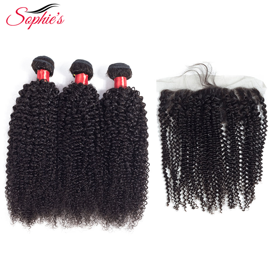 Sophie's Kinky Curly 3 Bundles Human Hair Bundles With Closure 13*4 Frontal Peruvian Hair Weaves Non Remy Black Hair Extensions-in 3/4 Bundles with Closure from Hair Extensions & Wigs    1