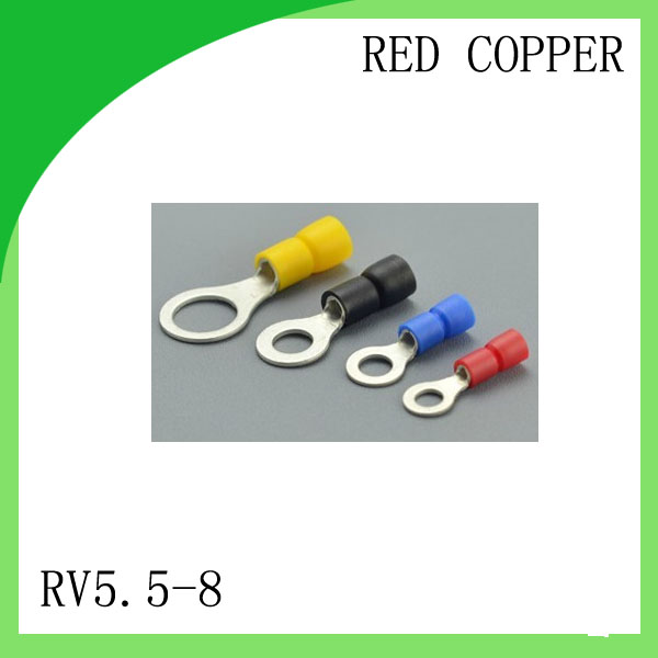 Manufacture  red copper 1000 PCS RV5.5-8 Cold Pressed Terminal Connector Suitable for 16AWG - 14AWG  Cable lug