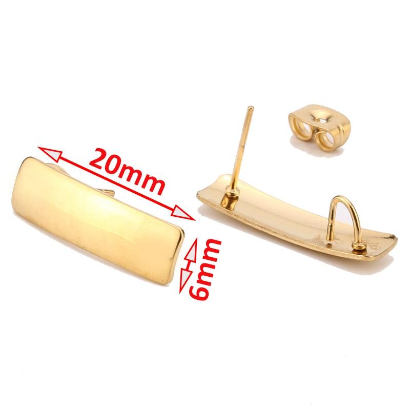 10pcs Earrings Making Accessories Gold Rectangle Earrings Base Connectors Linker 20x6mm