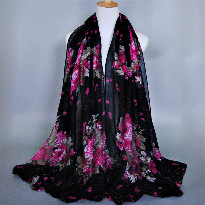 10 Colors Foulard Woemn Bandana Printed Flower Scrawl Long Viscose Shawls Hijab Head Pashmina Muslim Scarves Tippet Muffler