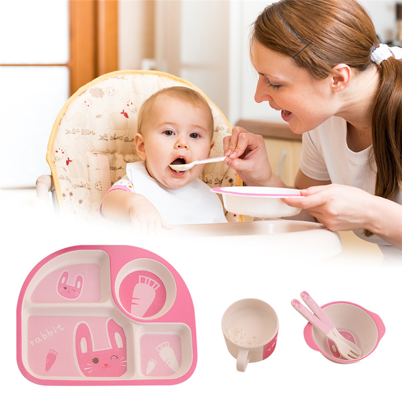 5pc Children Dinner Plate Set Bowl Cup Spoon Fork Tableware Set Eco-Friendly Bamboo Material Safe Dishes Food Feeding Set circle