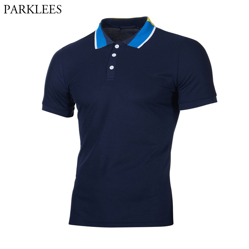 Men's Short Sleeve Colorful Collars   Polo   Shirt 2018 Brand Solid Color   Polos   Shirts Men Summer Casual Breathable   Polo   Masculina