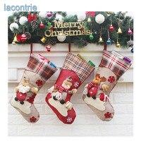 2017 Hot Sale Christmas Decorations New Year Gifts Santa Snowman ELK Socks Christmas Socks Gift Bag
