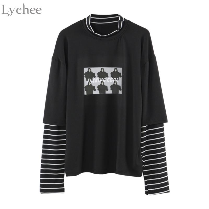 Lychee wiosna jesień kobiety T koszula charakter list drukuj pasek Patchwork dorywczo luźna koszulka z długim rękawem Tee Top 1