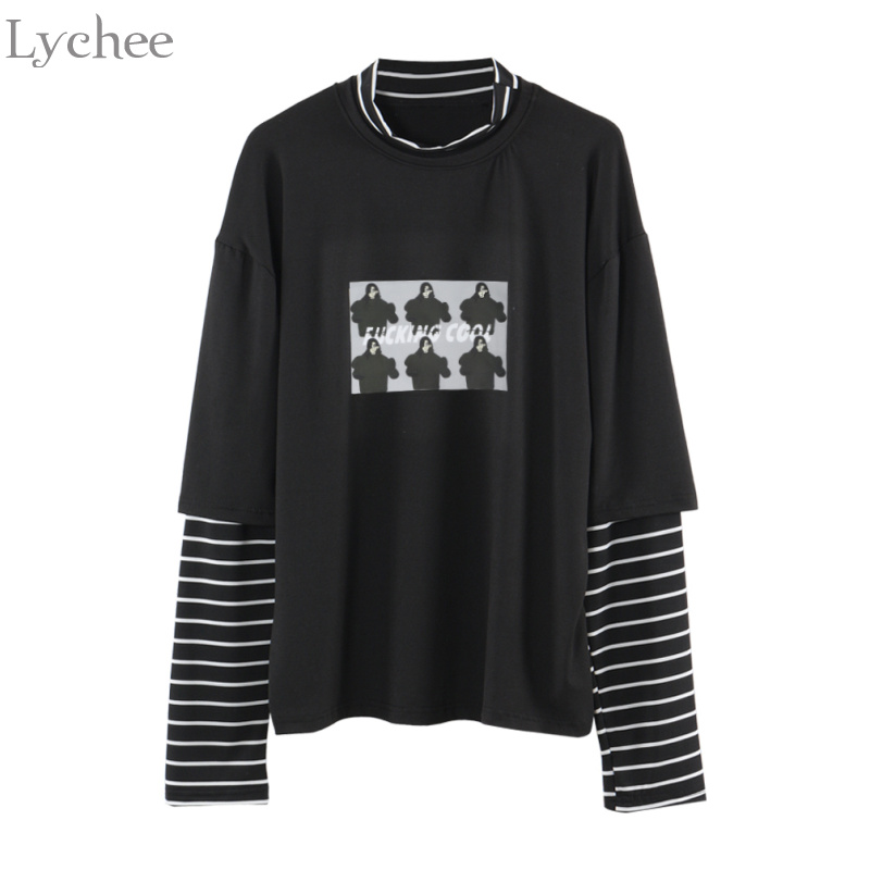 Lychee Spring Autumn Women T Shirt Character Letter Print Stripe Patchwork Casual Loose Long Sleeve T Shirt Tee Top