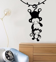 Funny Monkey Wall Sticker Cute Family Zoo Home Decoration Vinyl Art Removable Poster Mural Animals Style Nursery W233