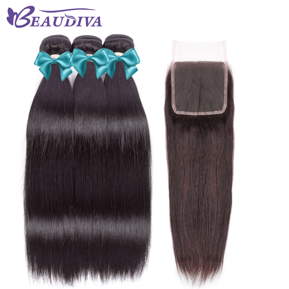 BEAUDIVA Brazilian Hair Weave 3 Bundles Brazilian Straight Hair With Lace Closure 100% N ...