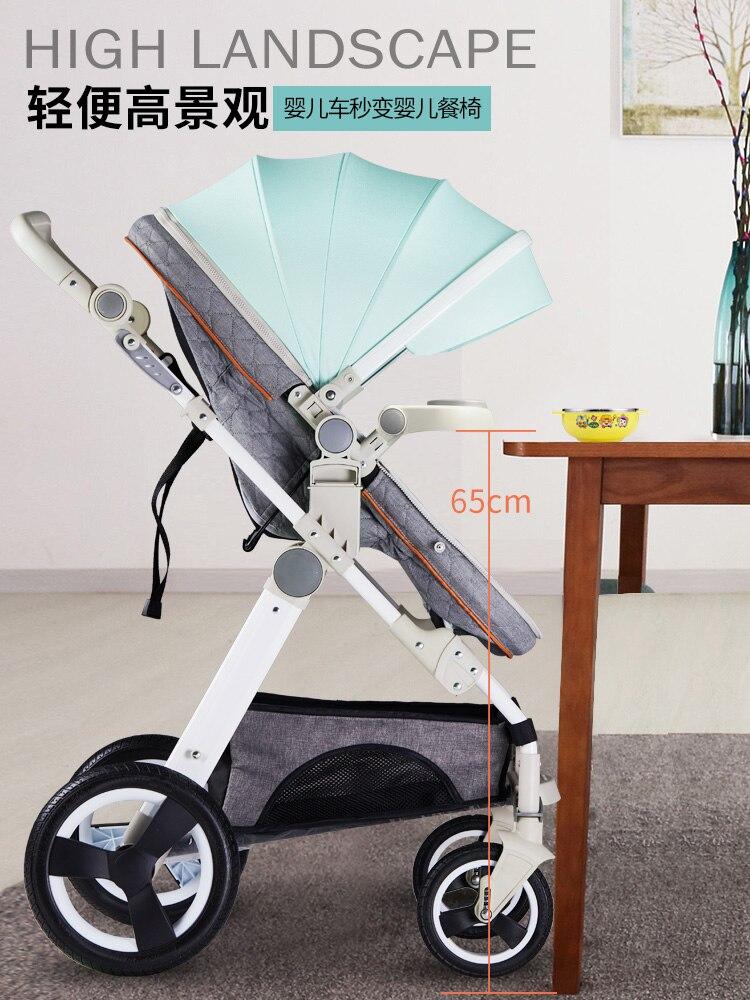 Haute poussette bébé paysage peut s'asseoir inclinable lumière pliante portable bébé poussette quatre roues amortisseur bébé poussette