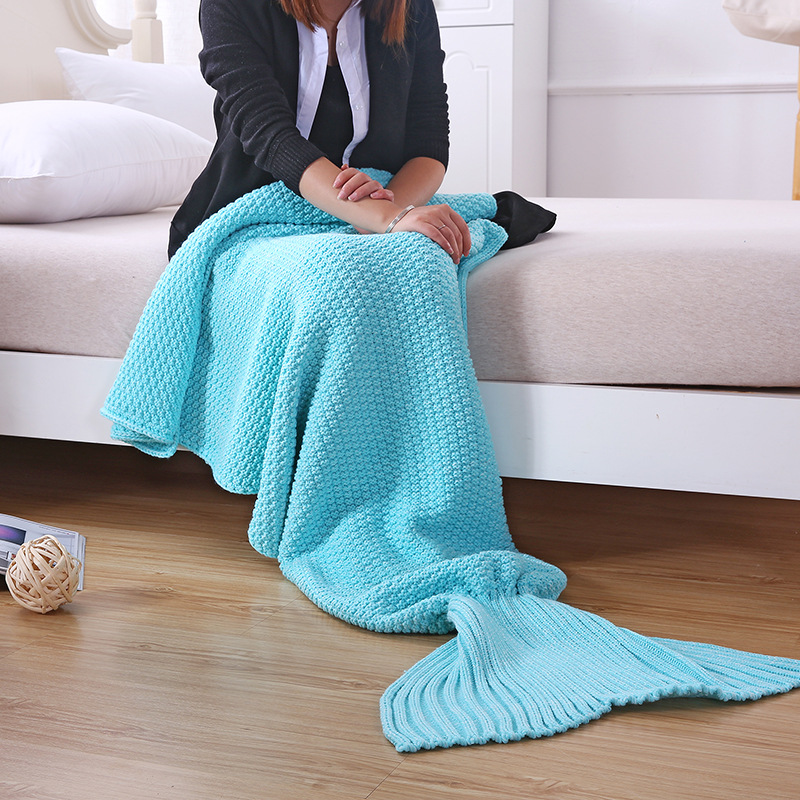 Spring New Adult Cute Comfortable Crochet Sleeping Solid Knitted Blankets Sweet Super Soft Mermaid Tail Blanket Christmas Gift