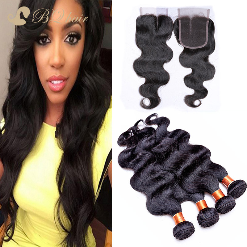 8A Brazilian Body Wave Hair 4 Bundles With Lace Closure Buy Queen Unprocessed Human Virgin Hair