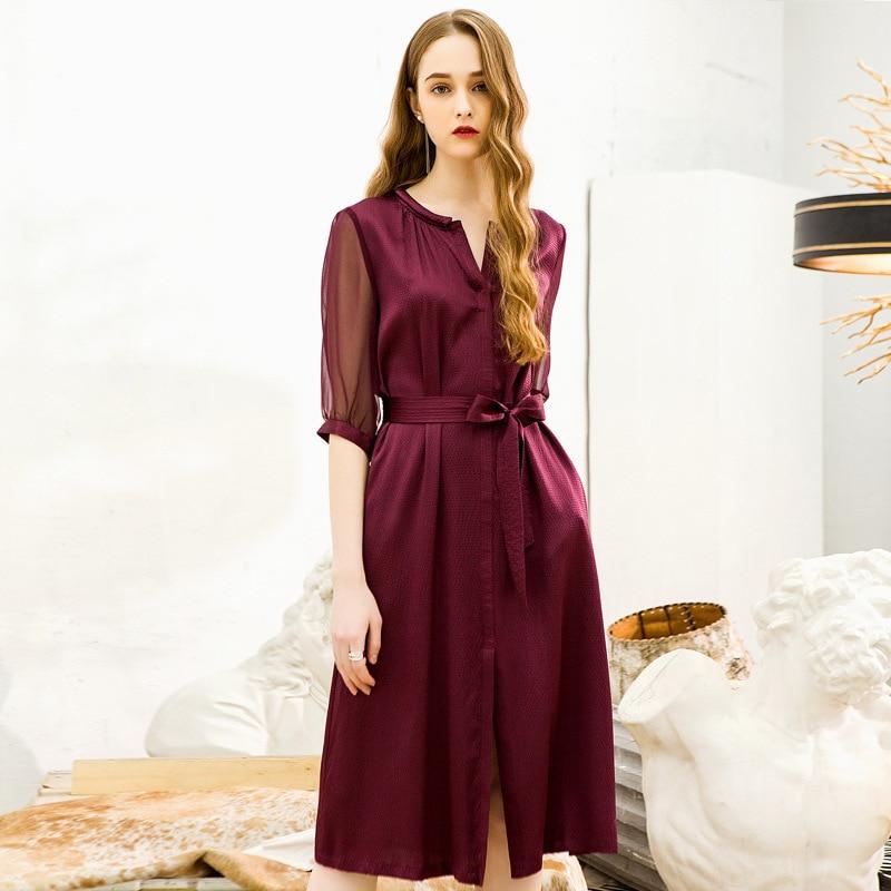 European and American women's fashion light ripe silk dress heavy weight 100% mulberry silk dress summer XY2L3262