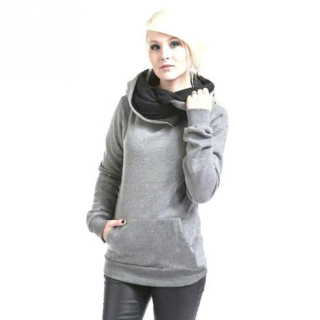 Chic Design Women Casual Solid Hoodies Lapel Hooded Sweatshirts Pullovers Turn-down Collar Autumn Winter &2