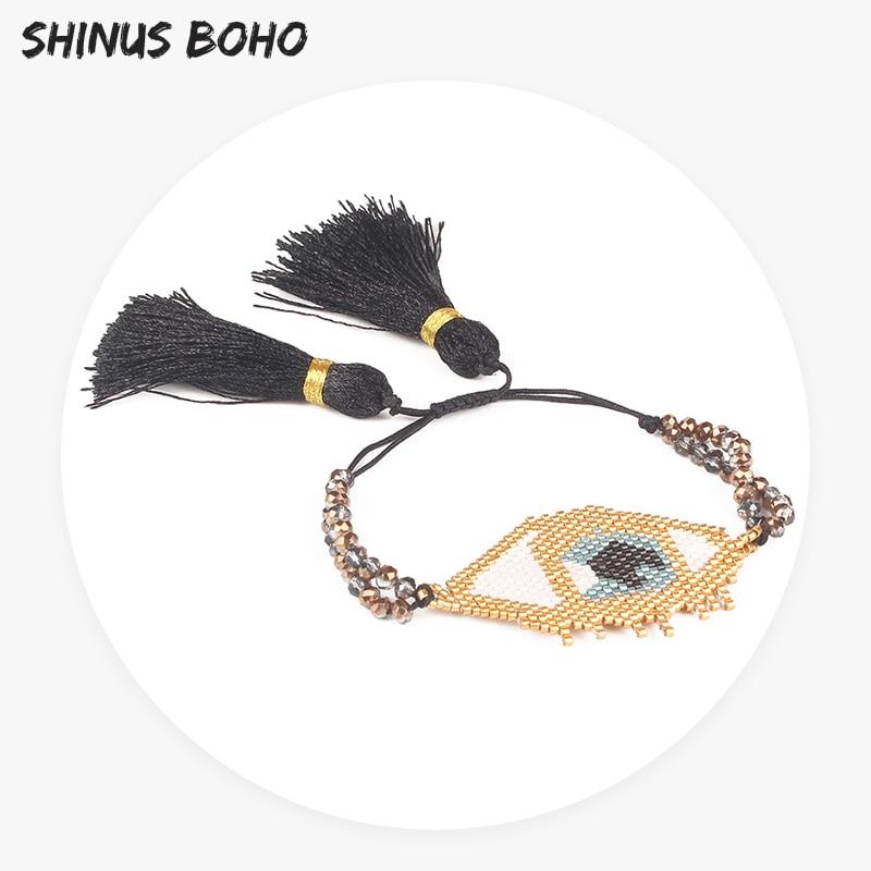 SHINUSBOHO Beads Bracelets Tassel Handmade Weave Big Eye Seed Beads & Cut Crystal Glass Flat Beads Bracelets Unisex Adjustable