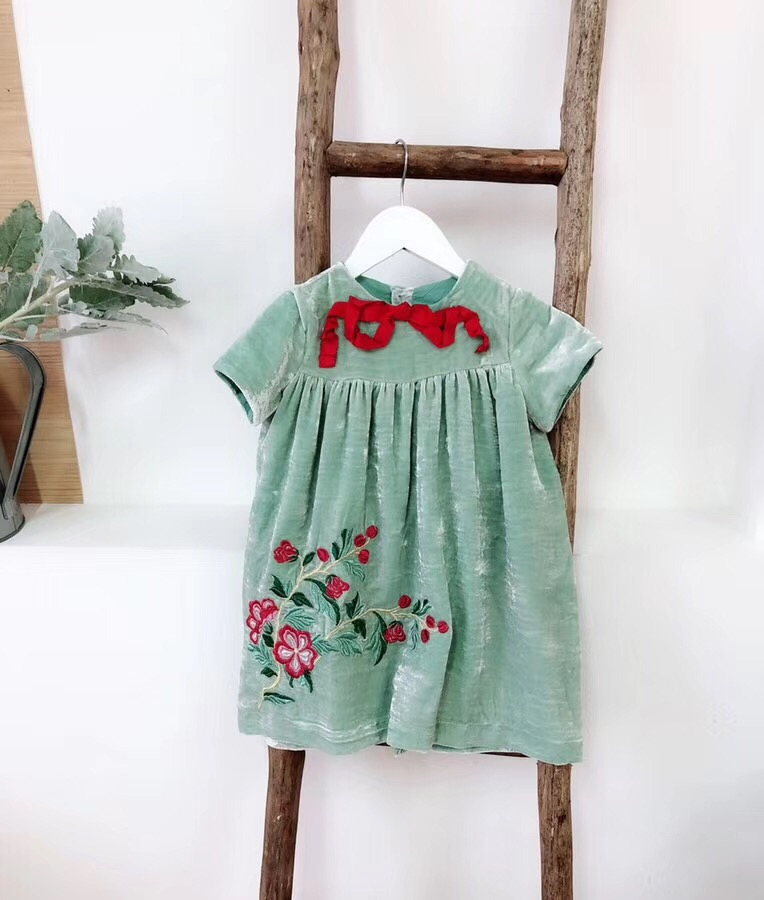 baby girl clothes 2018 Blue embroidered flower dress high quality baby girls dress fashion girls clothes kids short sleeve dress hot sale wholesale christmas angel girl dress girls high quality boutique baby girl cotton dress