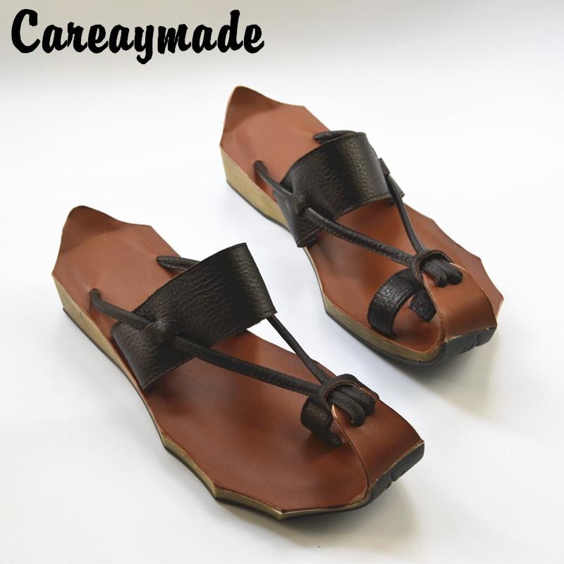 Careaymade-2020 new Genuine Leather pure handmade Zen Art retro Slipper ,the retro art mori girl shoes,Women's Slipper,4 colors