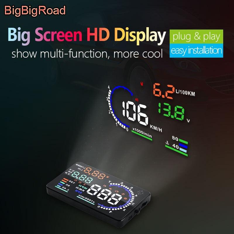 BigBigRoad voiture OBDII 2 EUOBD Auto HUD projecteur pare-brise pour Infiniti Q50 Q60 FX35 QX35 G35 G37 QX60 QX70 QX80 affichage tête haute