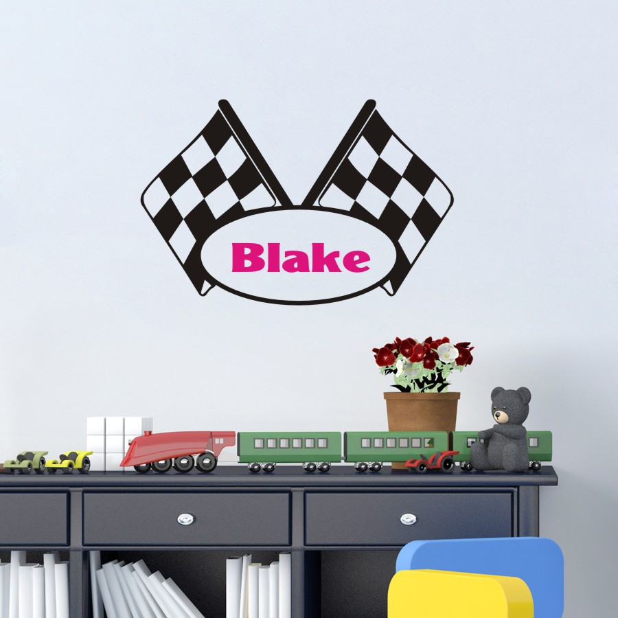 Car sticker design name - Personalized Name Customer Drive Car Flag Contest Play Removble Vinyl Wall Decal Wall Sticker Bedroom Living