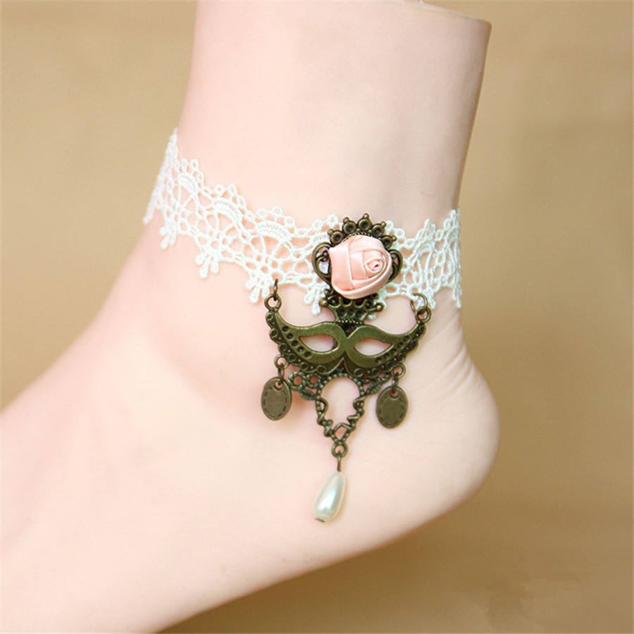 Pure Manual Sexy White Lace Bronze Pendants Anklets For Women Chain Anklet Bracelets Gift LS48