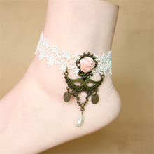 SEA MEW Pure Manual Sexy White Lace Bronze Pendants Anklets For Women Chain Anklet Bracelets Gift