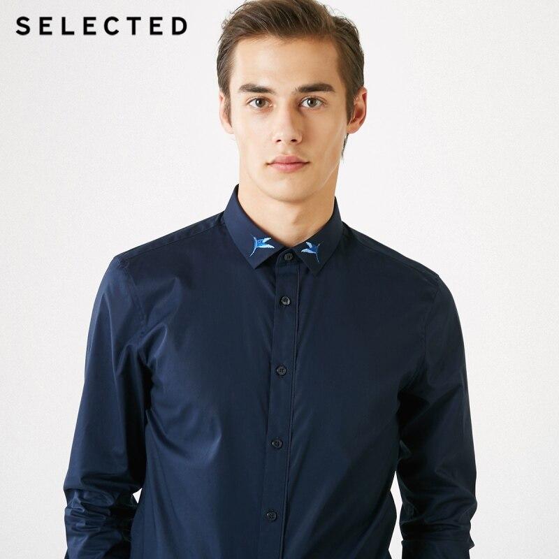 Hombres elegidos colibrí de bordado Slim Fit camisa de manga larga S  419105522 -in Camisas casuales from Ropa de hombre    2