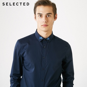 Image 2 - SELECTED Mens Hummingbird Embroidery Slim Fit Long sleeved Shirt S