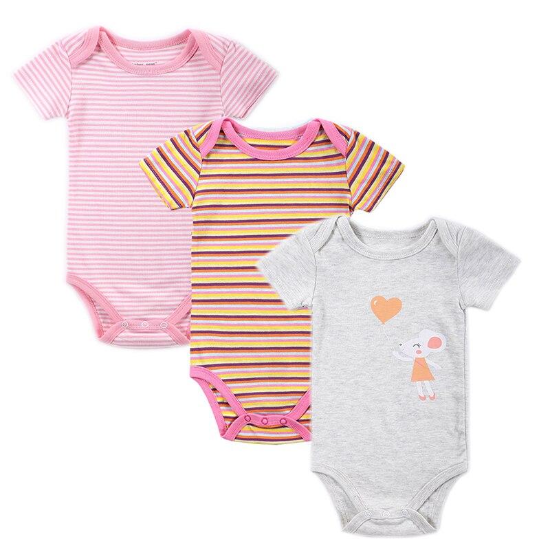 Mother Nest 3 Pieceslot Fantasia Baby Bodysuit Infant Jumpsuit Overall Short Sleeve Body Suit Baby Clothing Set Summer Cotton (2)